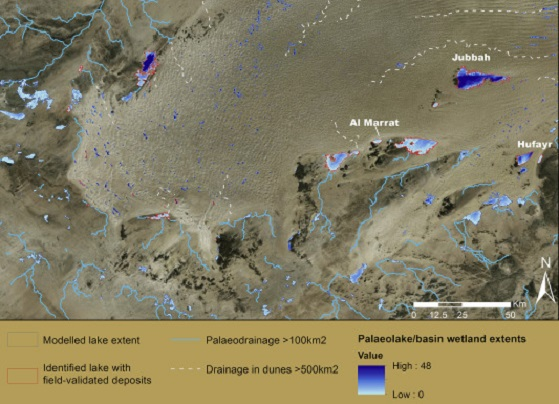 Results of palaeohydrological analyses focussed upon the southern Nefud region, showing mapped drainage (questionable drainage in dunes marked in grey), and modelled palaeolake extents