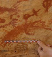 Rare red ochre rock art images